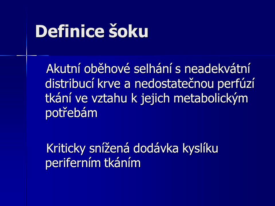 Definice šoku Akutní oběhové selhání s neadekvátní distribucí krve a nedostatečnou perfúzí tkání ve vztahu k jejich metabolickým potřebám Akutní oběhové selhání s neadekvátní distribucí krve a nedostatečnou perfúzí tkání ve vztahu k jejich metabolickým potřebám Kriticky snížená dodávka kyslíku periferním tkáním Kriticky snížená dodávka kyslíku periferním tkáním