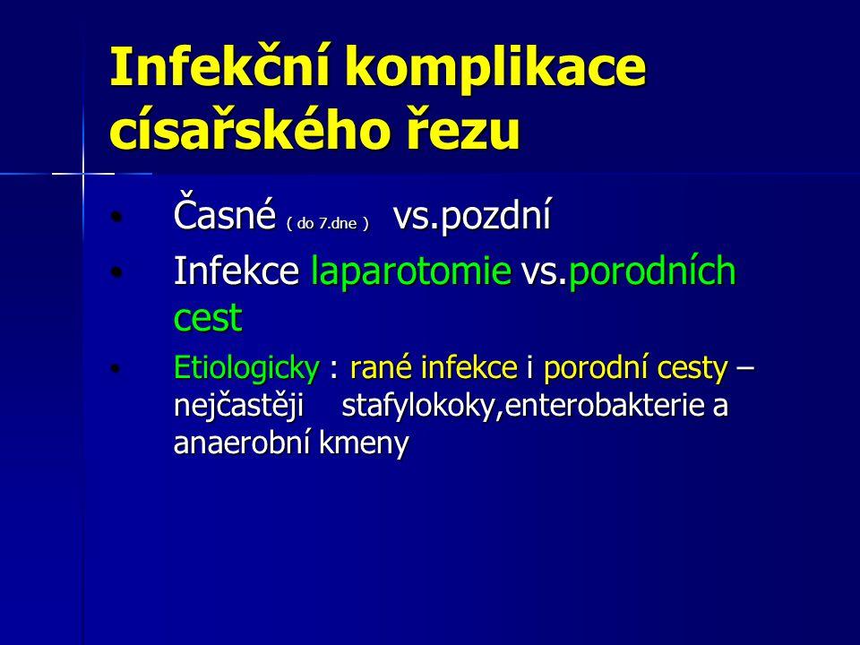 Infekční komplikace císařského řezu Časné ( do 7.dne ) vs.pozdní Časné ( do 7.dne ) vs.pozdní Infekce laparotomie vs.porodních cest Infekce laparotomi