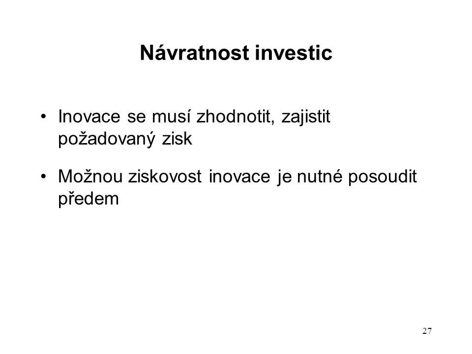 Návratnost investic Inovace se musí zhodnotit, zajistit požadovaný zisk Možnou ziskovost inovace je nutné posoudit předem 27