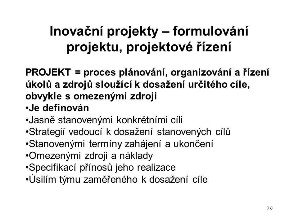 Inovační projekty – formulování projektu, projektové řízení PROJEKT = proces plánování, organizování a řízení úkolů a zdrojů sloužící k dosažení určit
