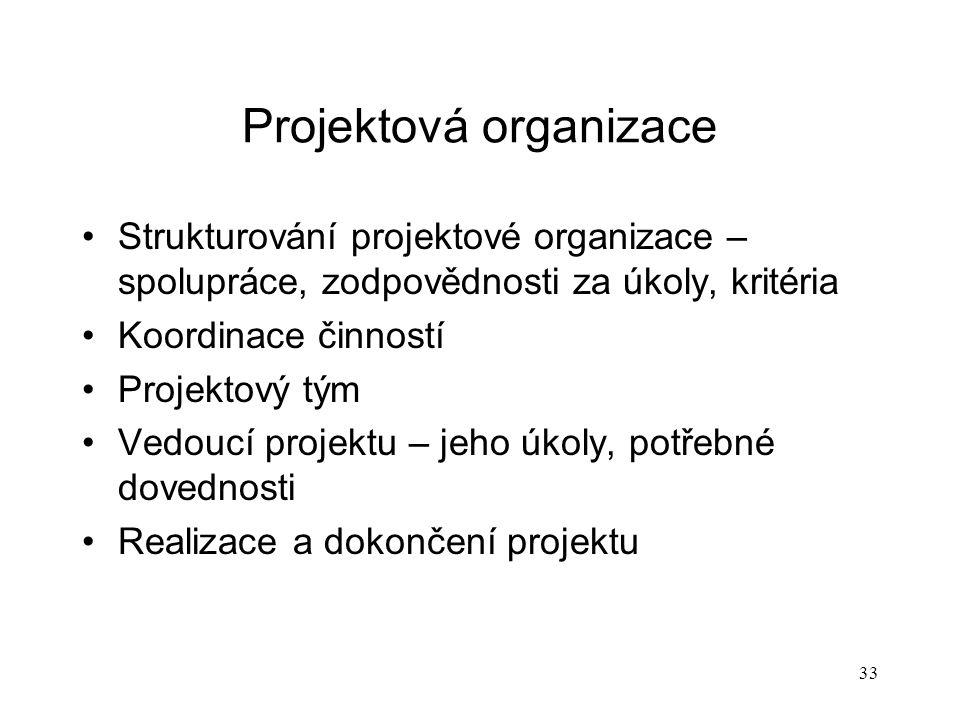 Projektová organizace Strukturování projektové organizace – spolupráce, zodpovědnosti za úkoly, kritéria Koordinace činností Projektový tým Vedoucí pr