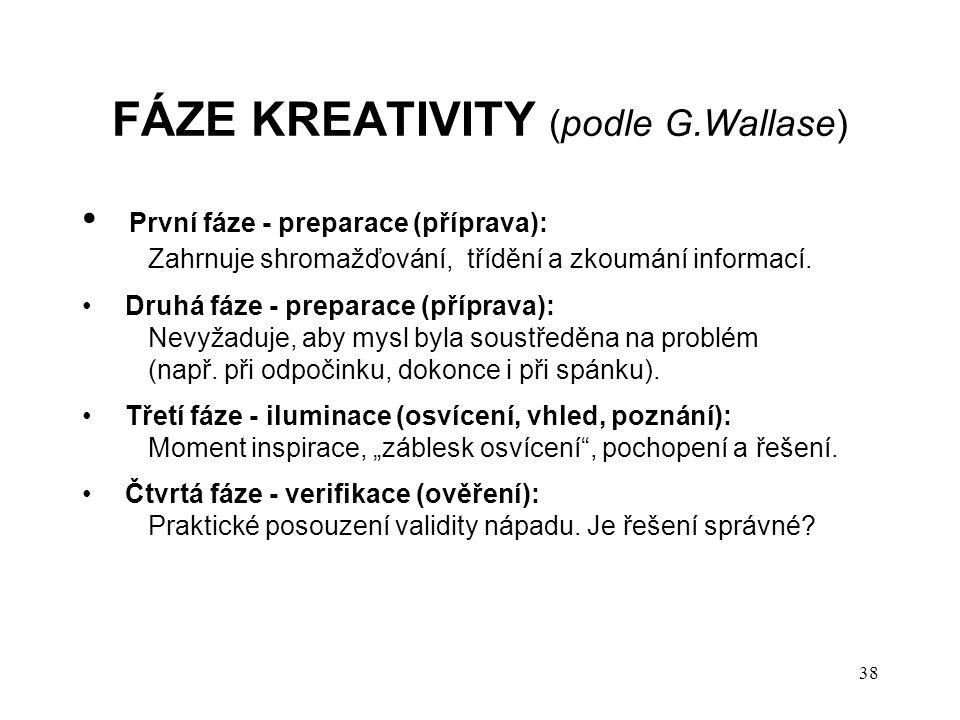 FÁZE KREATIVITY (podle G.Wallase) První fáze - preparace (příprava): Zahrnuje shromažďování, třídění a zkoumání informací. Druhá fáze - preparace (pří