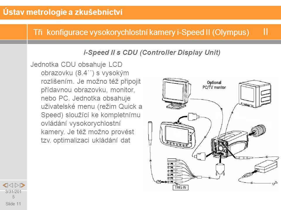 Slide 11 3/31/2015 Tři konfigurace vysokorychlostní kamery i-Speed II (Olympus) II i-Speed II s CDU (Controller Display Unit) Ústav metrologie a zkušebnictví Jednotka CDU obsahuje LCD obrazovku (8.4´´) s vysokým rozlišením.