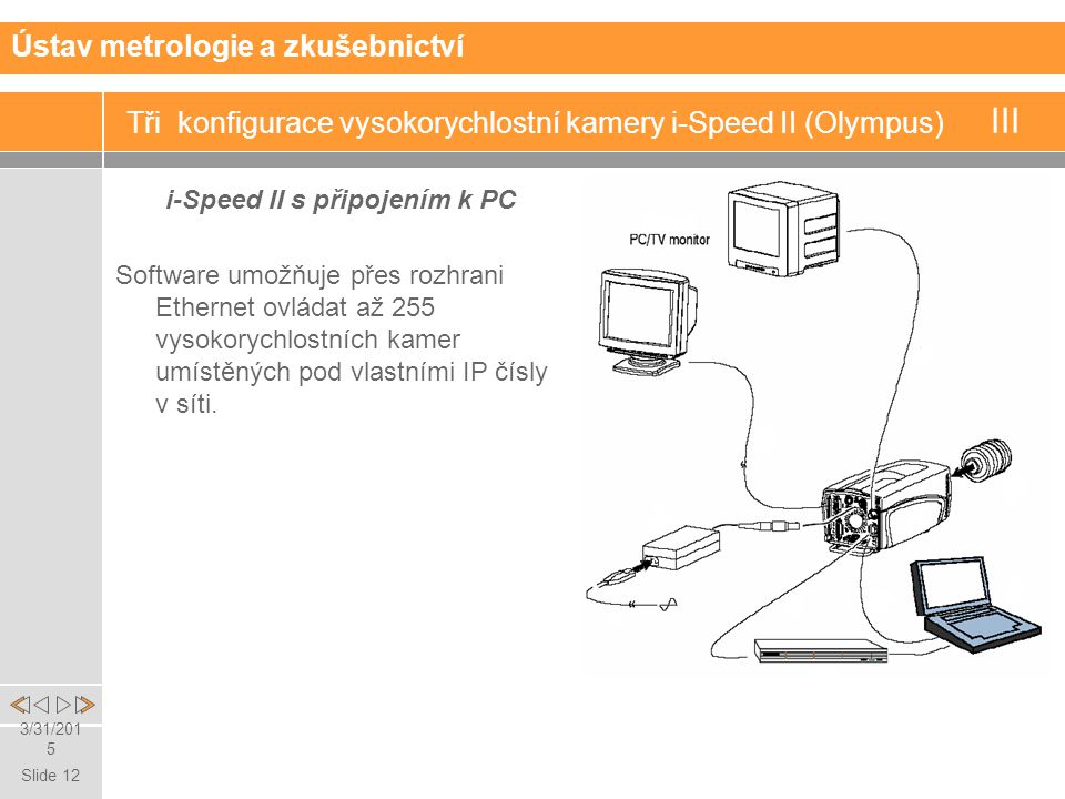Slide 12 3/31/2015 Tři konfigurace vysokorychlostní kamery i-Speed II (Olympus) III i-Speed II s připojením k PC Ústav metrologie a zkušebnictví Software umožňuje přes rozhrani Ethernet ovládat až 255 vysokorychlostních kamer umístěných pod vlastními IP čísly v síti.