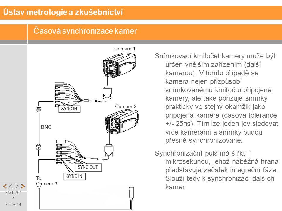 Slide 14 3/31/2015 Časová synchronizace kamer Ústav metrologie a zkušebnictví Snímkovací kmitočet kamery může být určen vnějším zařízením (další kamerou).
