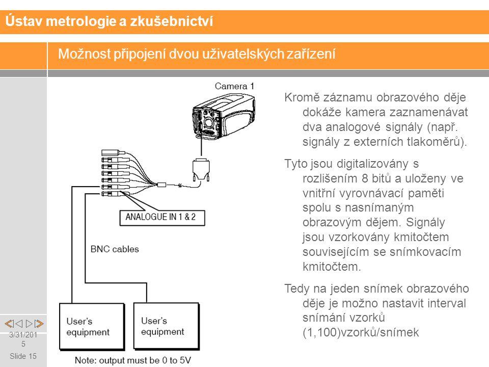 Slide 15 3/31/2015 Ústav metrologie a zkušebnictví Možnost připojení dvou uživatelských zařízení Kromě záznamu obrazového děje dokáže kamera zaznamenávat dva analogové signály (např.