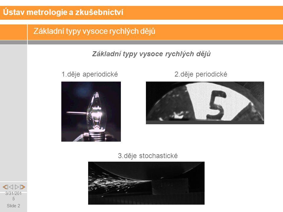 Slide 2 3/31/2015 Základní typy vysoce rychlých dějů 1.děje aperiodické 2.děje periodické 3.děje stochastické Ústav metrologie a zkušebnictví
