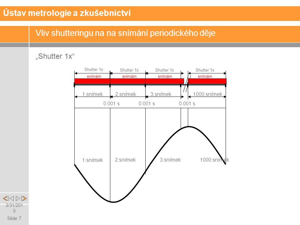 """Slide 8 3/31/2015 Vliv shutteringu na na snímání periodického děje """"Shutter 2x 1.snímek 2.snímek snímámnesnímám Shutter 2x 0.0005 s snímámnesnímám Shutter 2x 0.0005 s 1000.snímek snímámnesnímám Shutter 2x 0.0005 s Ústav metrologie a zkušebnictví"""