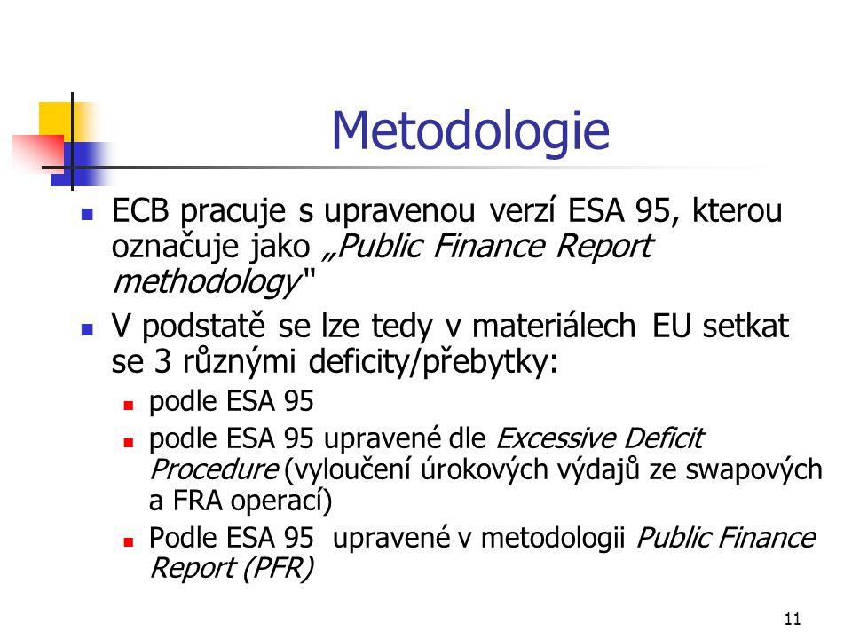"""11 Metodologie ECB pracuje s upravenou verzí ESA 95, kterou označuje jako """"Public Finance Report methodology V podstatě se lze tedy v materiálech EU setkat se 3 různými deficity/přebytky: podle ESA 95 podle ESA 95 upravené dle Excessive Deficit Procedure (vyloučení úrokových výdajů ze swapových a FRA operací) Podle ESA 95 upravené v metodologii Public Finance Report (PFR)"""