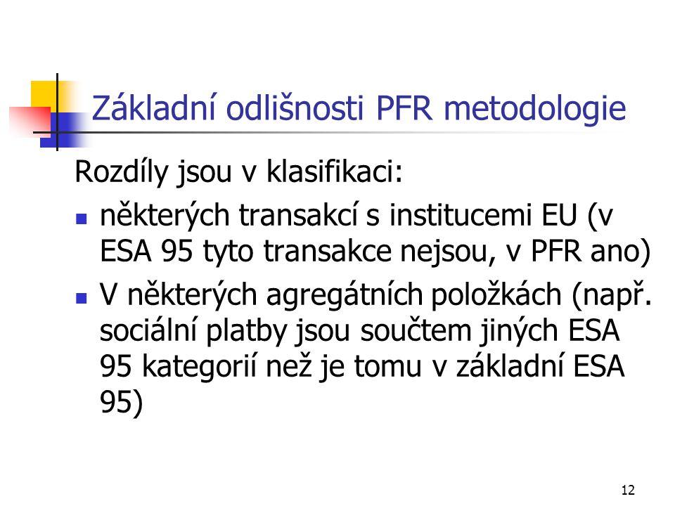 12 Základní odlišnosti PFR metodologie Rozdíly jsou v klasifikaci: některých transakcí s institucemi EU (v ESA 95 tyto transakce nejsou, v PFR ano) V některých agregátních položkách (např.