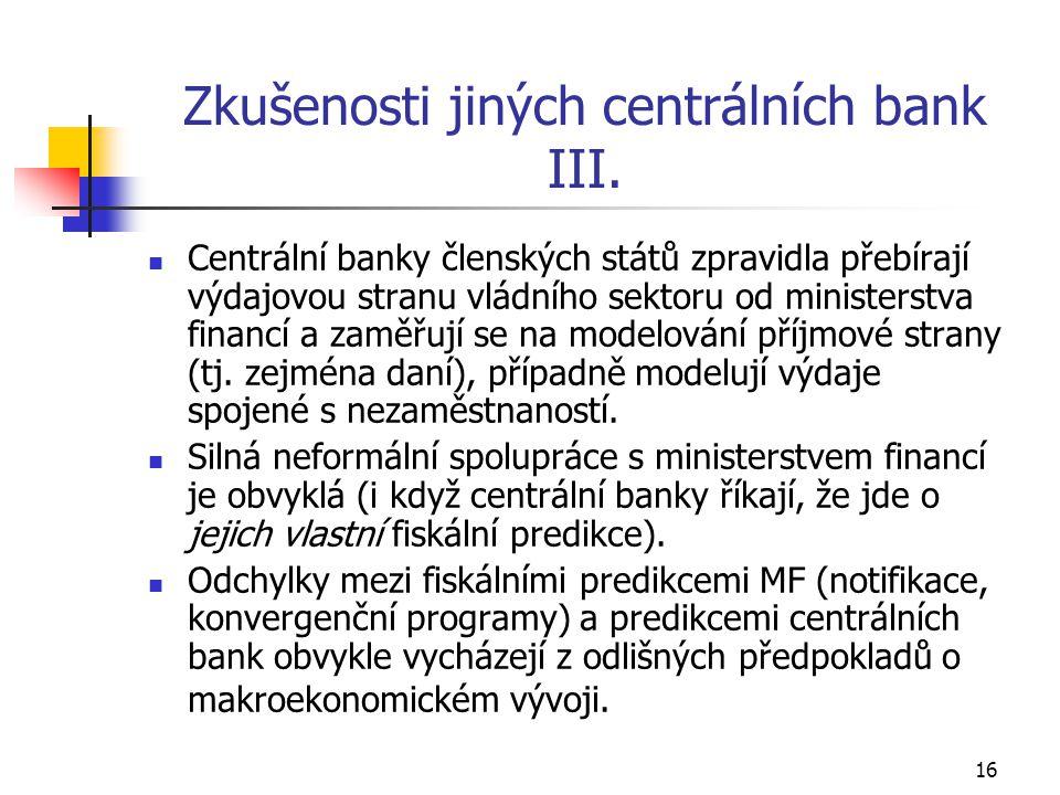 16 Zkušenosti jiných centrálních bank III.