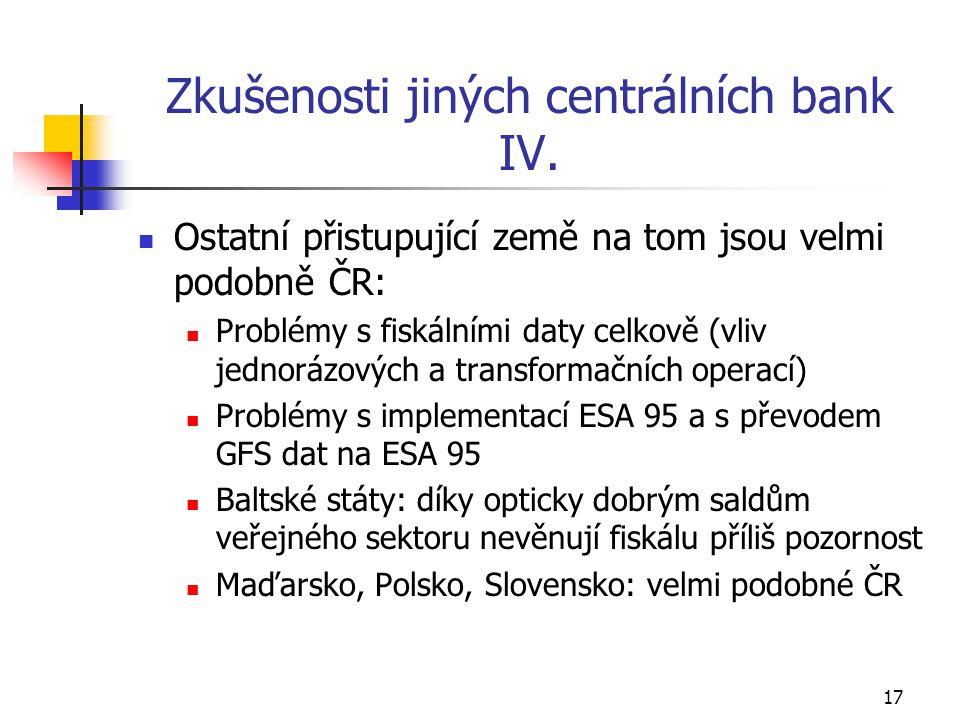 17 Zkušenosti jiných centrálních bank IV.