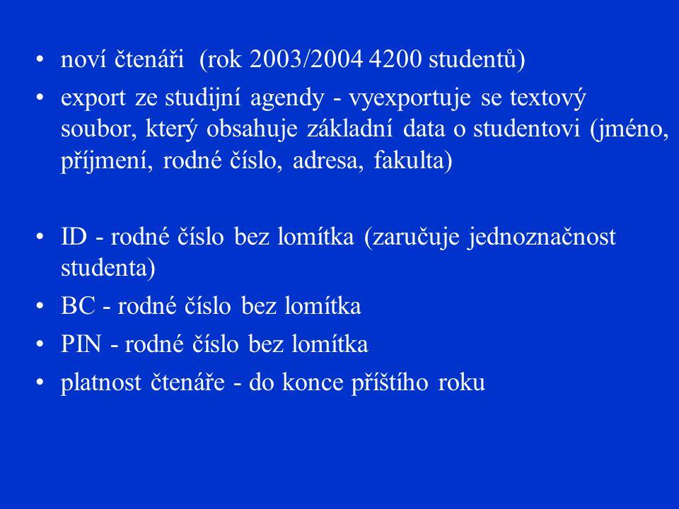 noví čtenáři (rok 2003/2004 4200 studentů) export ze studijní agendy - vyexportuje se textový soubor, který obsahuje základní data o studentovi (jméno, příjmení, rodné číslo, adresa, fakulta) ID - rodné číslo bez lomítka (zaručuje jednoznačnost studenta) BC - rodné číslo bez lomítka PIN - rodné číslo bez lomítka platnost čtenáře - do konce příštího roku