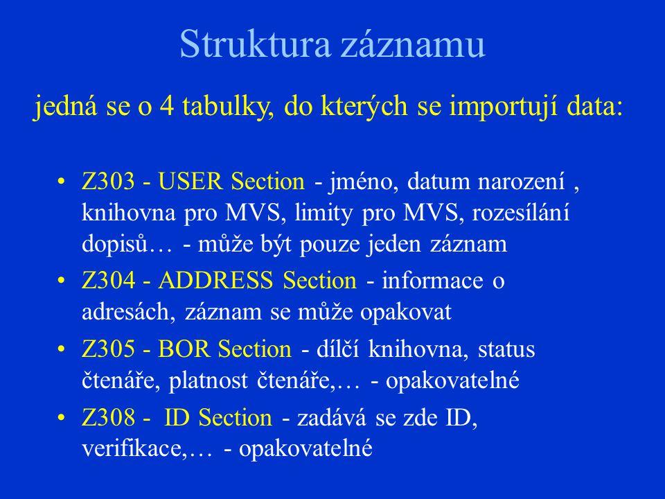 Struktura záznamu Z303 - USER Section - jméno, datum narození, knihovna pro MVS, limity pro MVS, rozesílání dopisů… - může být pouze jeden záznam Z304 - ADDRESS Section - informace o adresách, záznam se může opakovat Z305 - BOR Section - dílčí knihovna, status čtenáře, platnost čtenáře,… - opakovatelné Z308 - ID Section - zadává se zde ID, verifikace,… - opakovatelné jedná se o 4 tabulky, do kterých se importují data: