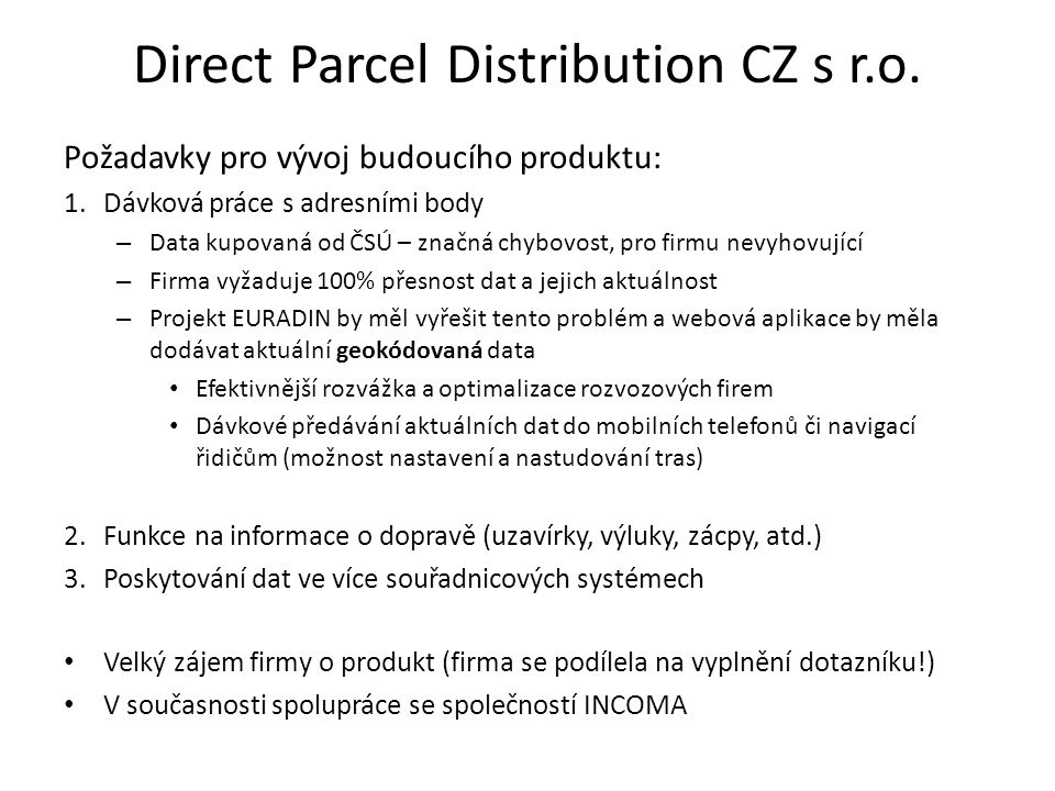 Direct Parcel Distribution CZ s r.o.