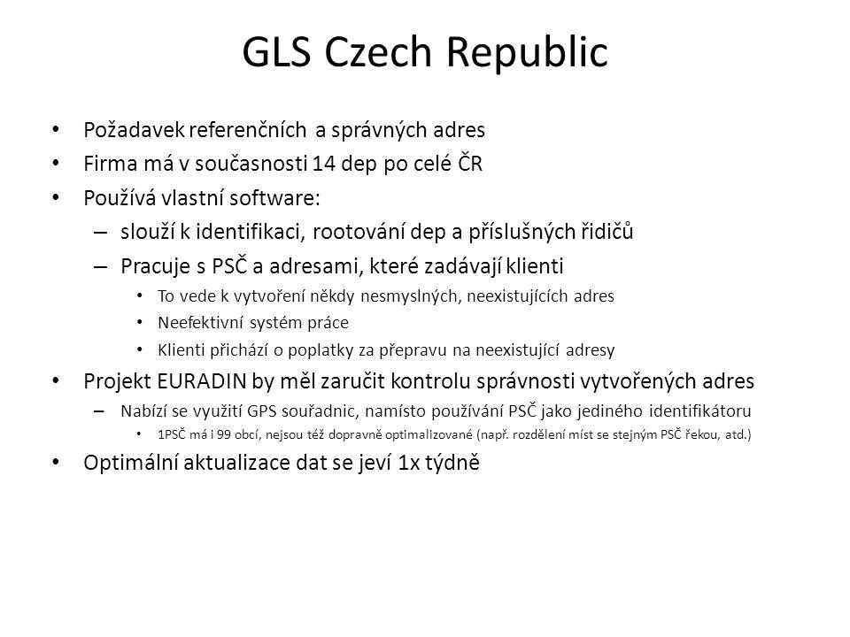 GLS Czech Republic Požadavek referenčních a správných adres Firma má v současnosti 14 dep po celé ČR Používá vlastní software: – slouží k identifikaci, rootování dep a příslušných řidičů – Pracuje s PSČ a adresami, které zadávají klienti To vede k vytvoření někdy nesmyslných, neexistujících adres Neefektivní systém práce Klienti přichází o poplatky za přepravu na neexistující adresy Projekt EURADIN by měl zaručit kontrolu správnosti vytvořených adres – Nabízí se využití GPS souřadnic, namísto používání PSČ jako jediného identifikátoru 1PSČ má i 99 obcí, nejsou též dopravně optimalizované (např.
