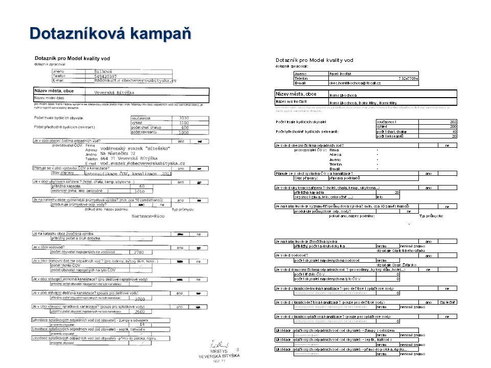 Aktualizace modelu  Doplnění a verifikace informací z dotazníkové kampaně provozovateli ČOV.