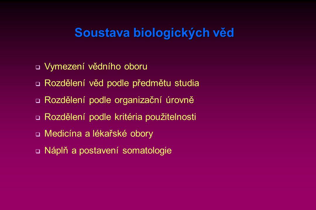 Soustava biologických věd  Vymezení vědního oboru  Rozdělení věd podle předmětu studia  Rozdělení podle organizační úrovně  Rozdělení podle kritéria použitelnosti  Medicína a lékařské obory  Náplň a postavení somatologie