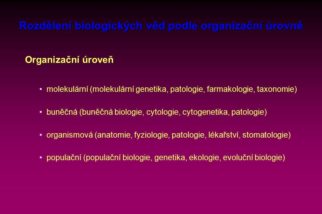 Rozdělení biologických věd podle organizační úrovně Organizační úroveň molekulární (molekulární genetika, patologie, farmakologie, taxonomie) buněčná (buněčná biologie, cytologie, cytogenetika, patologie) organismová (anatomie, fyziologie, patologie, lékařství, stomatologie) populační (populační biologie, genetika, ekologie, evoluční biologie)