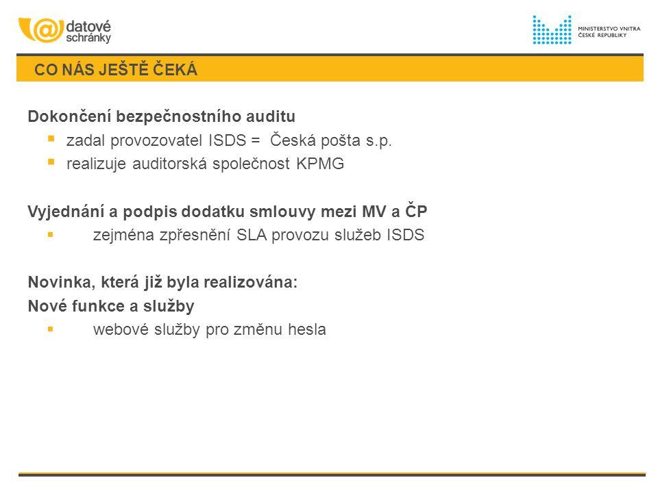 CO NÁS JEŠTĚ ČEKÁ Dokončení bezpečnostního auditu  zadal provozovatel ISDS = Česká pošta s.p.