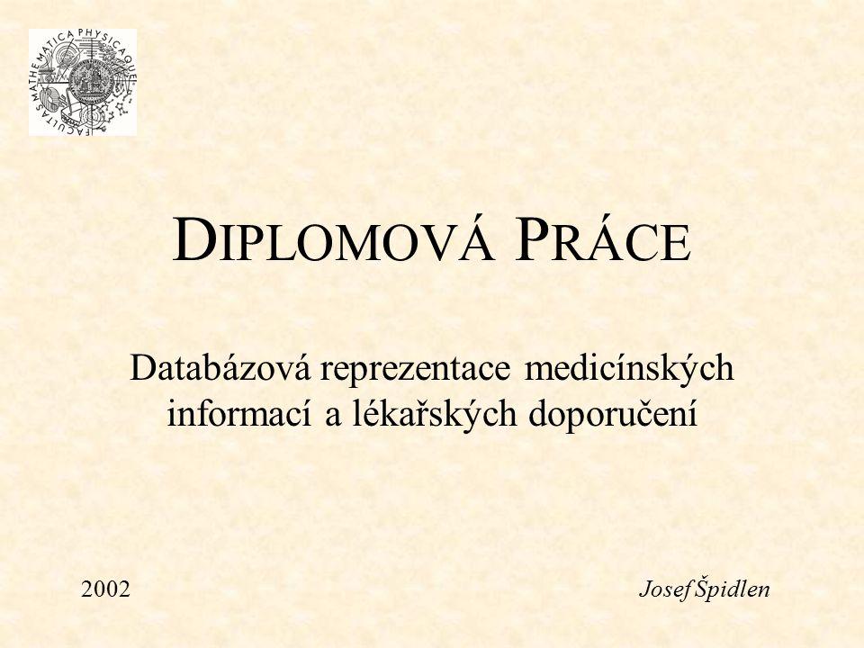 D IPLOMOVÁ P RÁCE Databázová reprezentace medicínských informací a lékařských doporučení 2002Josef Špidlen