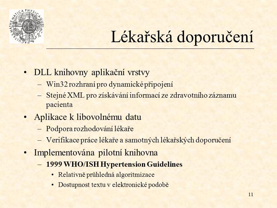 11 Lékařská doporučení DLL knihovny aplikační vrstvy –Win32 rozhraní pro dynamické připojení –Stejné XML pro získávání informací ze zdravotního záznamu pacienta Aplikace k libovolnému datu –Podpora rozhodování lékaře –Verifikace práce lékaře a samotných lékařských doporučení Implementována pilotní knihovna –1999 WHO/ISH Hypertension Guidelines Relativně průhledná algoritmizace Dostupnost textu v elektronické podobě