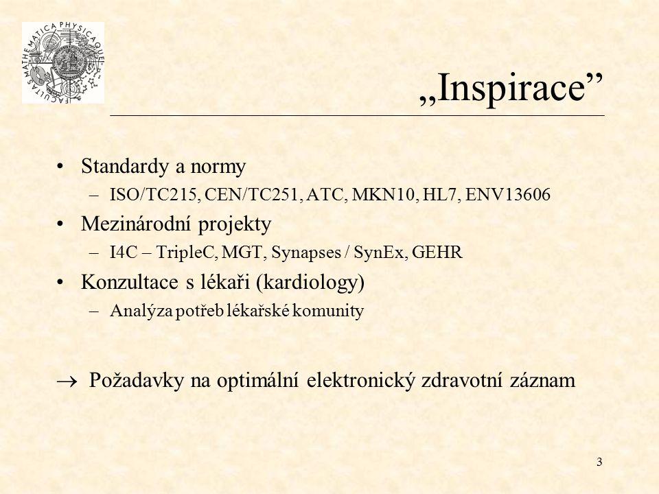 """3 """"Inspirace Standardy a normy –ISO/TC215, CEN/TC251, ATC, MKN10, HL7, ENV13606 Mezinárodní projekty –I4C – TripleC, MGT, Synapses / SynEx, GEHR Konzultace s lékaři (kardiology) –Analýza potřeb lékařské komunity  Požadavky na optimální elektronický zdravotní záznam"""