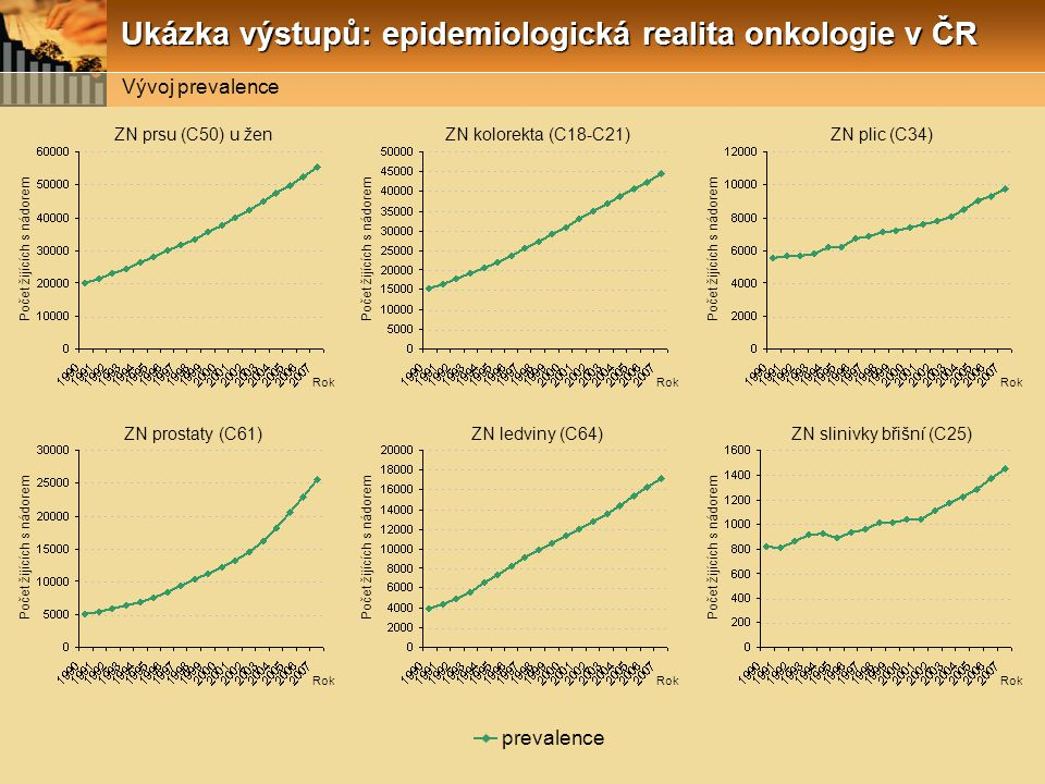 Počet žijících s nádorem Rok ZN prsu (C50) u žen Počet žijících s nádorem Rok ZN kolorekta (C18-C21) Počet žijících s nádorem Rok ZN plic (C34) Počet žijících s nádorem Rok ZN prostaty (C61) Počet žijících s nádorem Rok ZN ledviny (C64) Počet žijících s nádorem Rok ZN slinivky břišní (C25) prevalence Vývoj prevalence Ukázka výstupů: epidemiologická realita onkologie v ČR