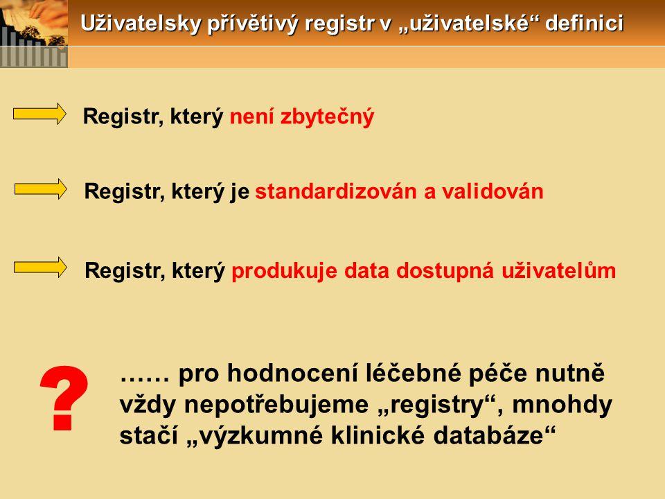 """Uživatelsky přívětivý registr v """"uživatelské definici Registr, který není zbytečný Registr, který je standardizován a validován Registr, který produkuje data dostupná uživatelům …… pro hodnocení léčebné péče nutně vždy nepotřebujeme """"registry , mnohdy stačí """"výzkumné klinické databáze"""