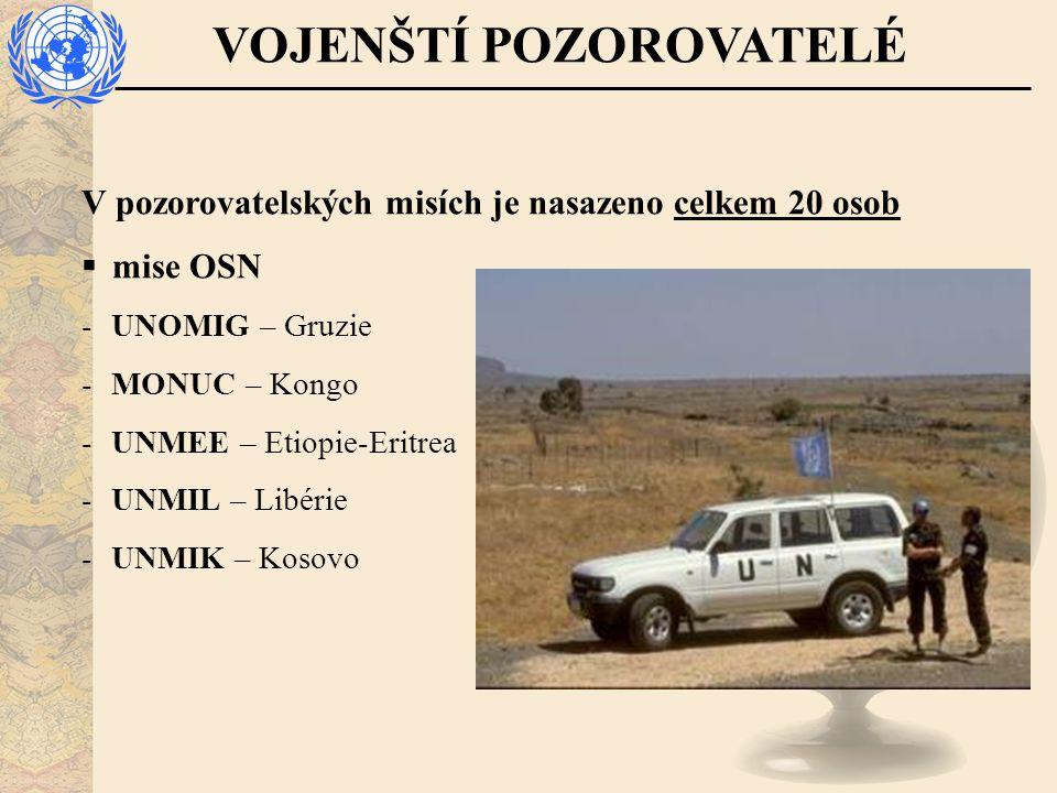 VOJENŠTÍ POZOROVATELÉ V pozorovatelských misích je nasazeno celkem 20 osob  mise OSN - UNOMIG – Gruzie - MONUC – Kongo - UNMEE – Etiopie-Eritrea - UNMIL – Libérie - UNMIK – Kosovo