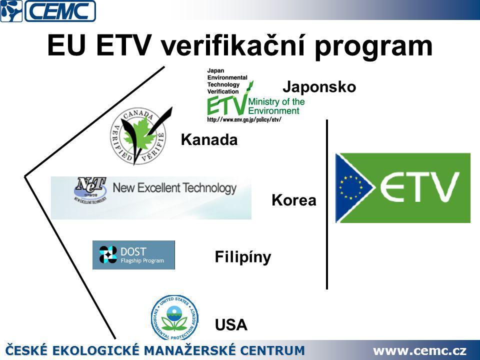 EU ETV verifikační program Kanada Korea Filipíny USA Japonsko ČESKÉ EKOLOGICKÉ MANAŽERSKÉ CENTRUM www.cemc.cz