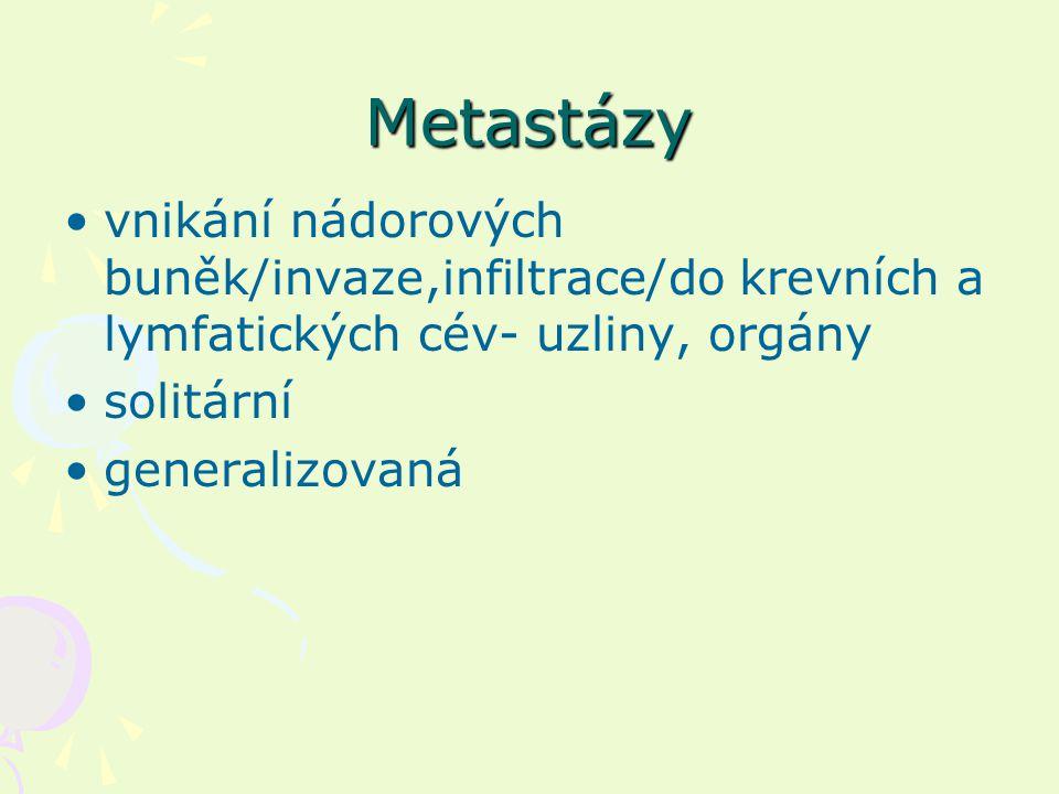 Metastázy vnikání nádorových buněk/invaze,infiltrace/do krevních a lymfatických cév- uzliny, orgány solitární generalizovaná