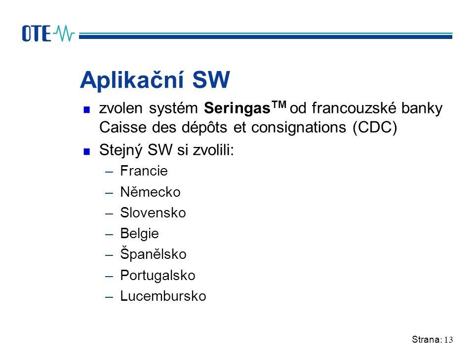 Strana: 13 Aplikační SW zvolen systém Seringas TM od francouzské banky Caisse des dépôts et consignations (CDC) Stejný SW si zvolili: –Francie –Německ