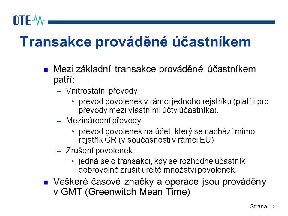 Strana: 18 Transakce prováděné účastníkem Mezi základní transakce prováděné účastníkem patří: –Vnitrostátní převody převod povolenek v rámci jednoho rejstříku (platí i pro převody mezi vlastními účty účastníka).