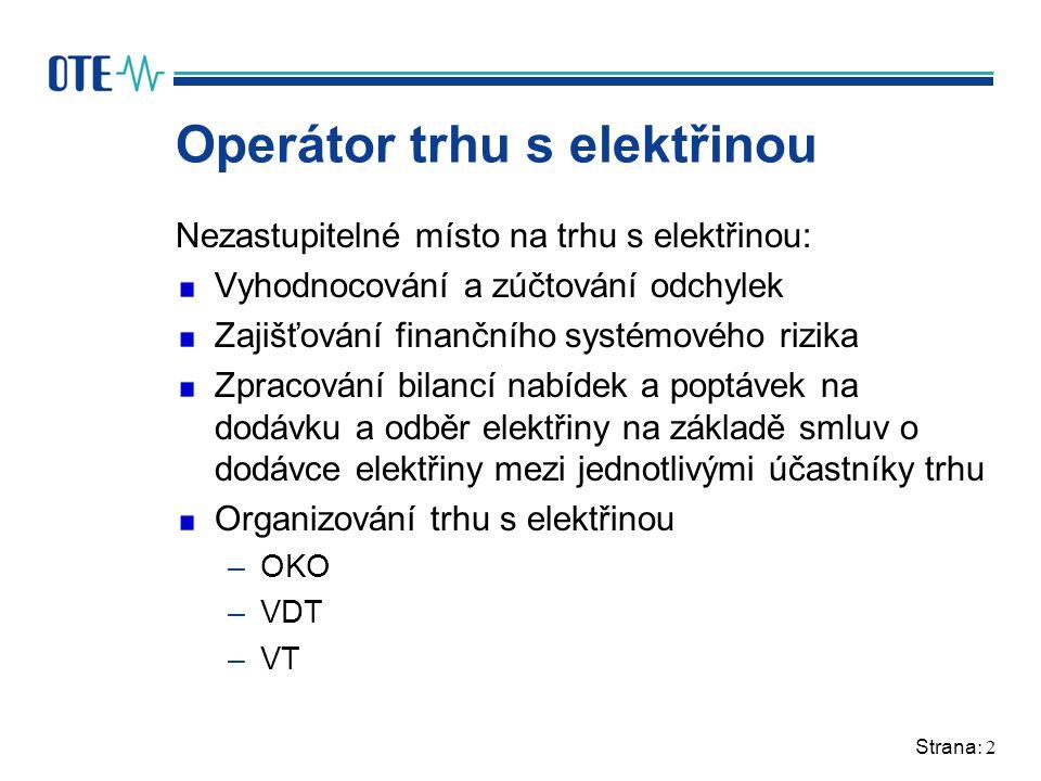 Strana: 2 Operátor trhu s elektřinou Nezastupitelné místo na trhu s elektřinou: Vyhodnocování a zúčtování odchylek Zajišťování finančního systémového