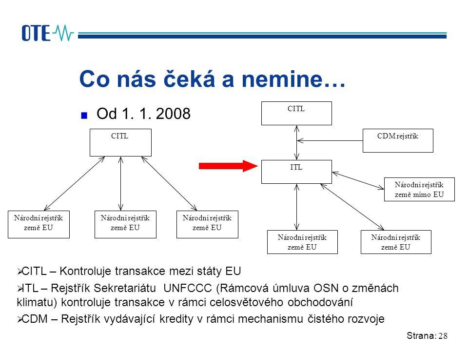 Strana: 28 Co nás čeká a nemine… Od 1. 1. 2008 CITL Národní rejstřík země EU ITL Národní rejstřík země EU CITL Národní rejstřík země mimo EU CDM rejst