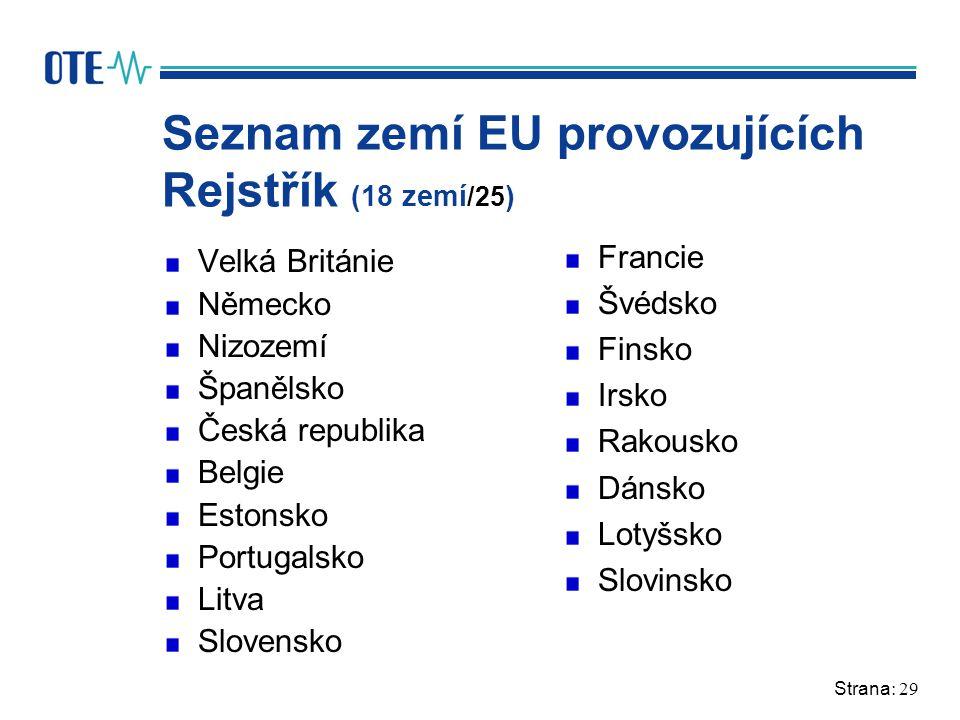 Strana: 29 Seznam zemí EU provozujících Rejstřík (18 zemí /25 ) Velká Británie Německo Nizozemí Španělsko Česká republika Belgie Estonsko Portugalsko