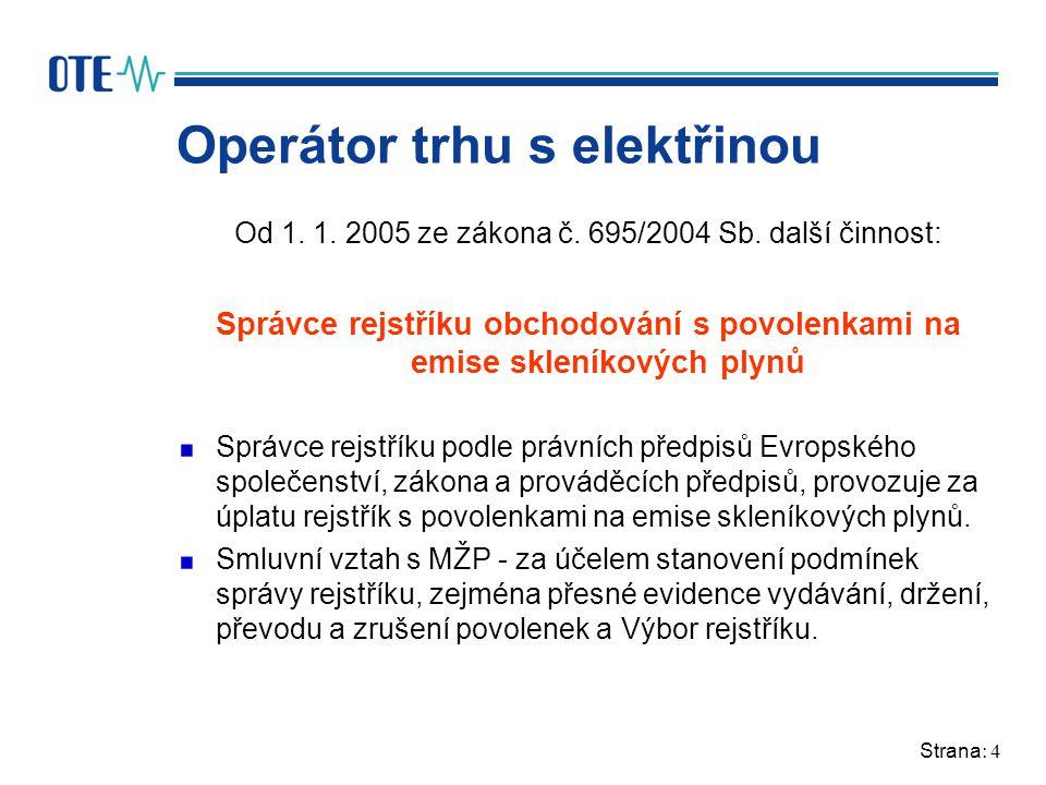 Strana: 4 Operátor trhu s elektřinou Od 1. 1. 2005 ze zákona č. 695/2004 Sb. další činnost: Správce rejstříku obchodování s povolenkami na emise sklen