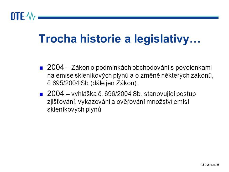 Strana: 6 Trocha historie a legislativy… 2004 – Zákon o podmínkách obchodování s povolenkami na emise skleníkových plynů a o změně některých zákonů, č.695/2004 Sb.(dále jen Zákon).