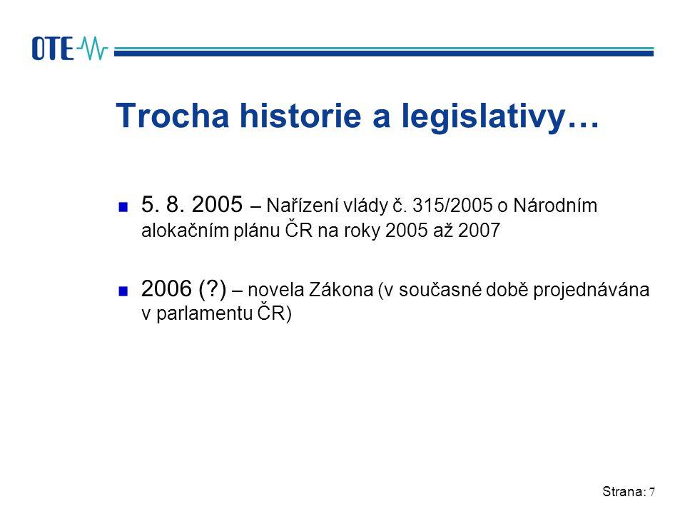 Strana: 7 Trocha historie a legislativy… 5. 8. 2005 – Nařízení vlády č.