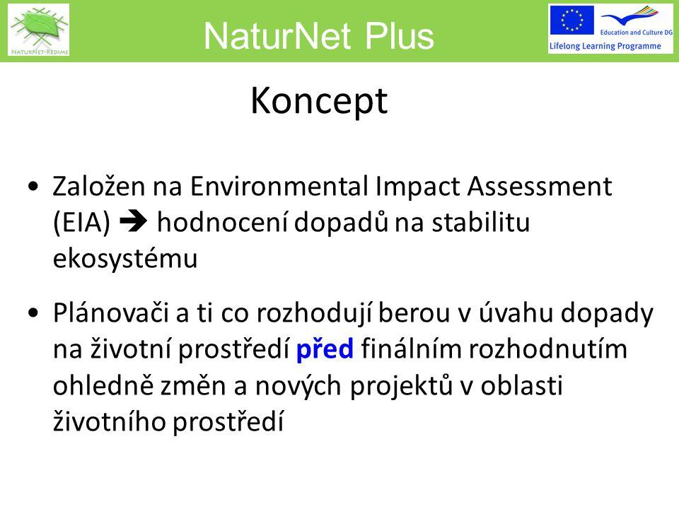 NaturNet Plus Koncept Založen na Environmental Impact Assessment (EIA)  hodnocení dopadů na stabilitu ekosystému Plánovači a ti co rozhodují berou v