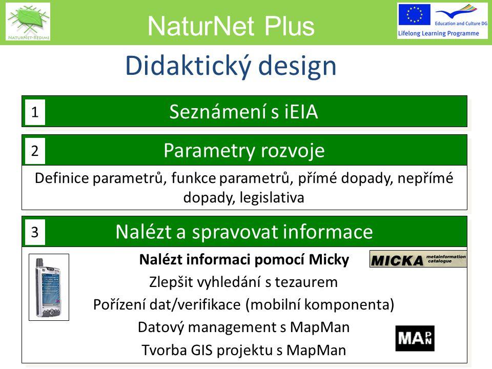 NaturNet Plus 9 Seznámení s iEIA Parametry rozvoje Definice parametrů, funkce parametrů, přímé dopady, nepřímé dopady, legislativa Nalézt a spravovat