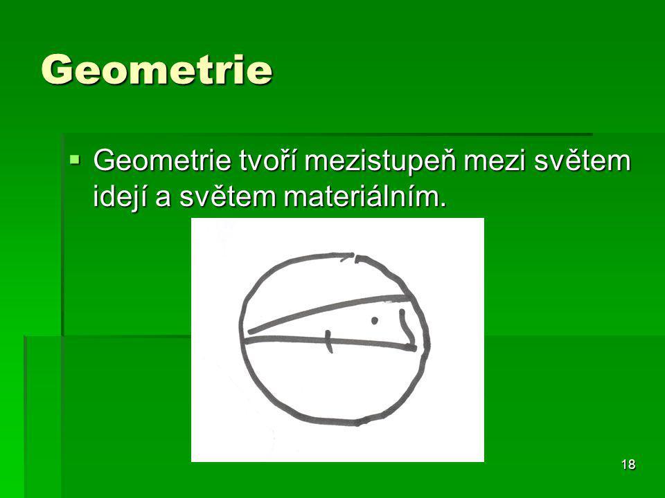 18 Geometrie  Geometrie tvoří mezistupeň mezi světem idejí a světem materiálním.