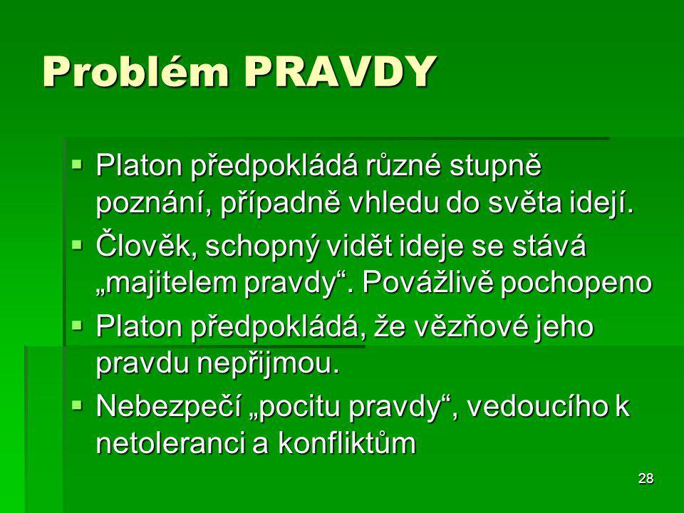 28 Problém PRAVDY  Platon předpokládá různé stupně poznání, případně vhledu do světa idejí.