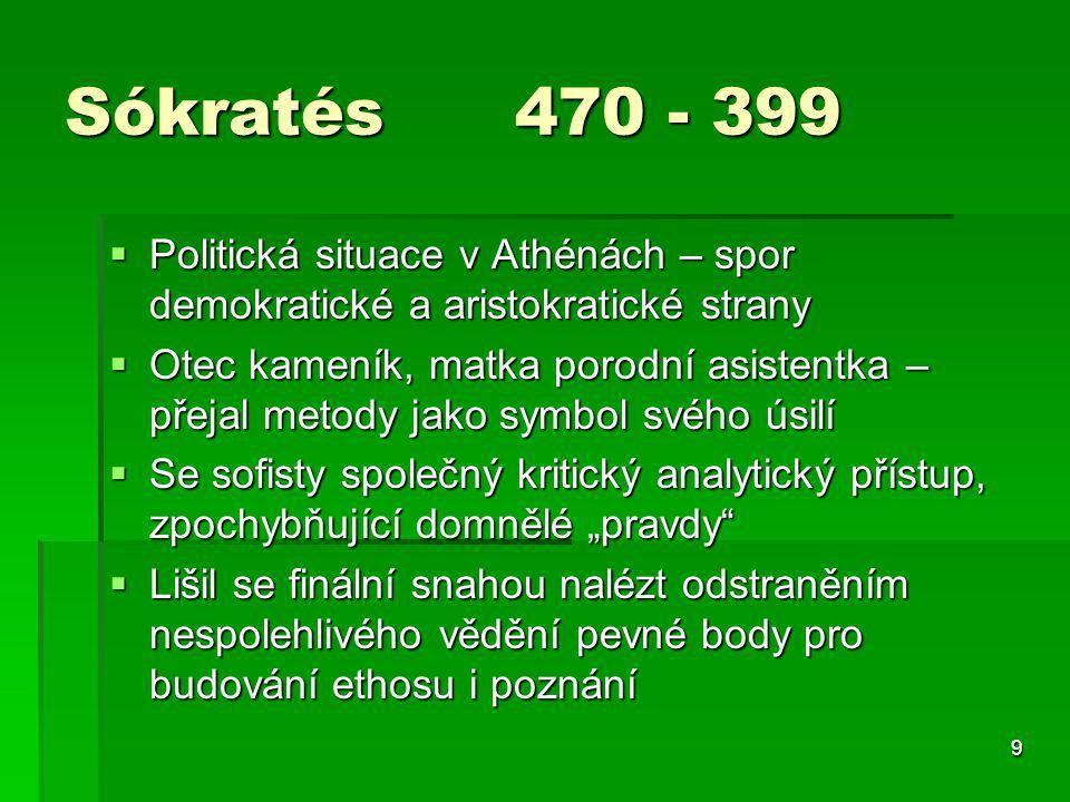 9 Sókratés 470 - 399  Politická situace v Athénách – spor demokratické a aristokratické strany  Otec kameník, matka porodní asistentka – přejal meto