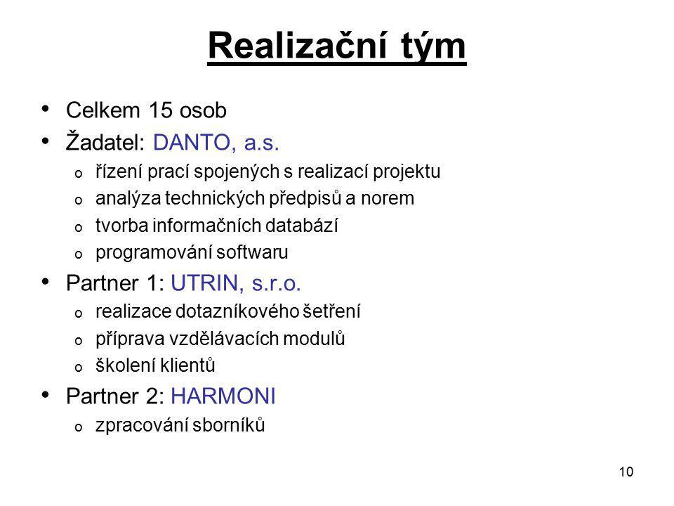 10 Realizační tým Celkem 15 osob Žadatel: DANTO, a.s.