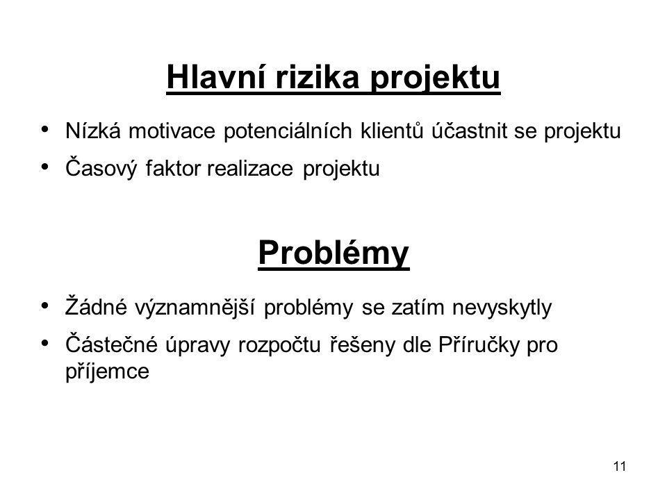 11 Hlavní rizika projektu Nízká motivace potenciálních klientů účastnit se projektu Časový faktor realizace projektu Problémy Žádné významnější problémy se zatím nevyskytly Částečné úpravy rozpočtu řešeny dle Příručky pro příjemce