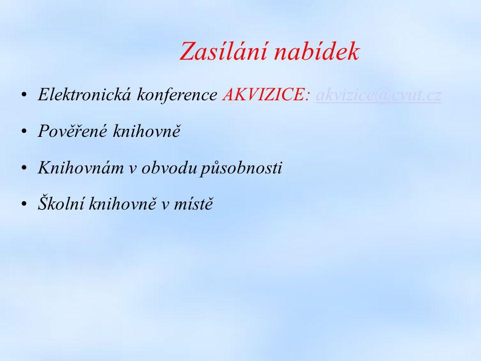 Zasílání nabídek Elektronická konference AKVIZICE: akvizice@cvut.czakvizice@cvut.cz Pověřené knihovně Knihovnám v obvodu působnosti Školní knihovně v místě