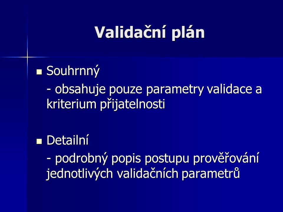 Validační plán Souhrnný Souhrnný - obsahuje pouze parametry validace a kriterium přijatelnosti Detailní Detailní - podrobný popis postupu prověřování