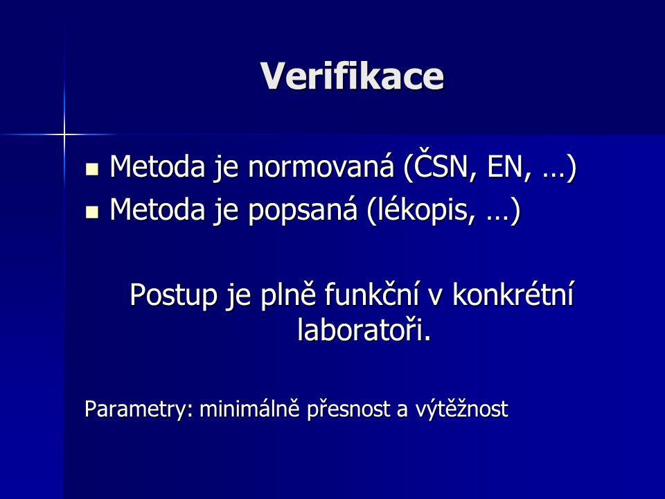 Verifikace Metoda je normovaná (ČSN, EN, …) Metoda je normovaná (ČSN, EN, …) Metoda je popsaná (lékopis, …) Metoda je popsaná (lékopis, …) Postup je p
